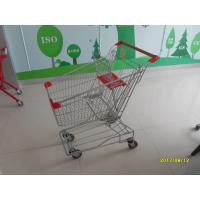 China Customized 80L Metal Shopping Trolley With Red Plastic Parts , Grocery Shopping Cart on sale