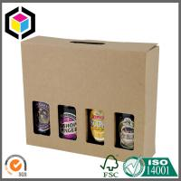 4 Bottle Beer Wine Kraft Carton Box; Beer Corrugated Packaging Box with Handle Manufactures