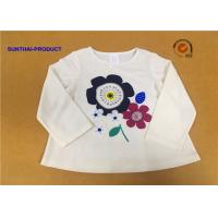 Quality Long Sleeve Childrens Plain White T Shirts Crew Neck Screen Print For Girls for sale