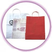 Custom White / Red Small Gift Hard Plastic Handle Bag with Colorful Printing Manufactures