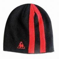 Men's Ski Hat with Jacquard Knitted Stripes, Made of Acrylic Manufactures