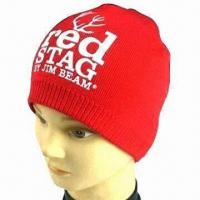 Knitted Hat with Rubber Printed Logo, Made of Cotton or Acrylic Manufactures