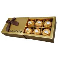 6pcs,12pcs Metallic Cardpaper Chocolate Packaging Boxes With Plastic Insert Manufactures