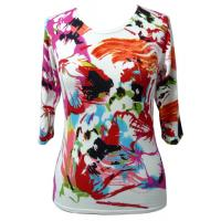 Quality Flower Full Prined Viscose Womns Knit Ssweater With Anti-Pilling for sale