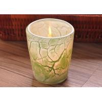 Create modern glass candle holders green leaf pattern , 280ml Capacity Manufactures