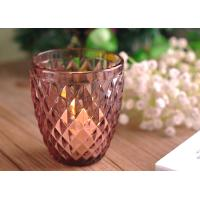 Diamond Votive Handmade Glass Candle Holders , Glass Candle Jars Spraying Color Finish Manufactures