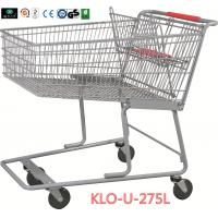 275L American Grocery Store Shopping Trolley With Base Grid / Metal Supermarket Carts Manufactures