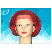 "Quality Non - woven MOB / clip cap 20 "" , single use , double elastic in red color for sale"