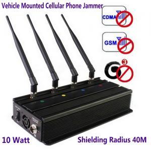 Vehicle Mounted Desktop 4 Antenna Mobile Phone 3G GSM CDMA Jammer W/ 10 Watt & 40M Range Manufactures