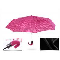 Beautiful Pink 3 Fold Automatic Umbrella , Large Elbow Curved Handle Umbrella Manufactures