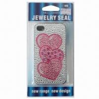 Sticker for iPhone 4, with Heart Design, Available in Plastic Case, Safe and Nontoxic Manufactures