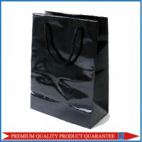 Plain Black Glossy Lamination Paper Shopping Bag for Garment Apparel Manufactures