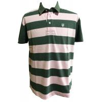Quality Green and pink Striped Plus size Polo Tee Shirts With Twill Application for sale