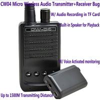 CW04 Mini Wireless Remote Audio Transmitter Receiver Spy Bug W/ Voice Recording in TF Card Manufactures