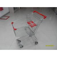 Quality 80L Supermarket Shopping Trolley American Design Shopping Carts With Red Plastic Parts for sale