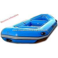 Light Blue Motorized Inflatable Raft Boat , Lightweight Inflatable Raft For River / Lake Manufactures