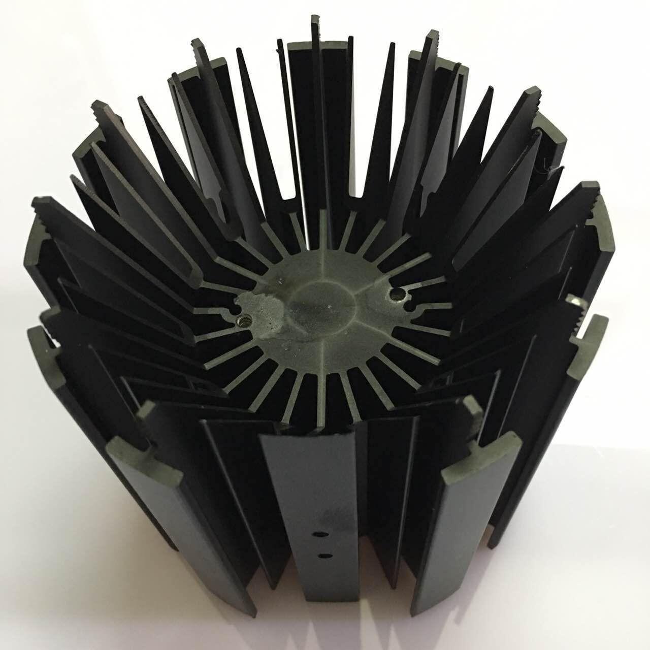 CNC Machining LED Module Street Light Aluminum Heat Sink Profiles With Black Anodizing Manufactures