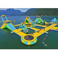 Waterproof Material Inflatable Water Playground Equipment Floating Island With Inflatable Slide Manufactures