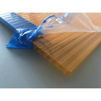 Orange Double Wall Polycarbonate Panels , Polycarbonate Hollow Sheet UV Resistant Manufactures