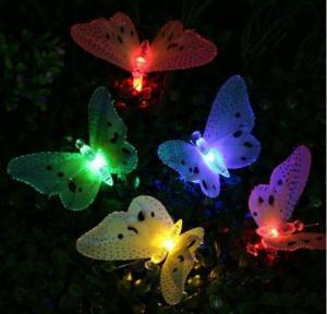 Quality Multi Color Solar Powered String Garden Lights , 10 LED Fiber Optic Butterfly for sale