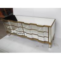Quality Luxury Gold Mirrored Sideboard Furniture , Bedroom Mirrored Buffet Sideboard for sale