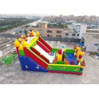 Kids Red / White 0.55MM PVC Tarpaulin Inflatable Slide Fun City With Obstacle Manufactures