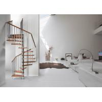 Steel Wood Residential Spiral Staircase , Custom Spiral Stairs For Small Spaces Manufactures