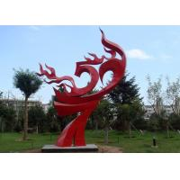 Large Painted Red Metal Flame Sculpture , Abstract Metal Garden Sculptures Manufactures