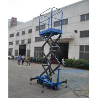 Quality Blue Push Motorcycle Scissor Lift Platform 3 Meter High / 500Kg Loading for sale