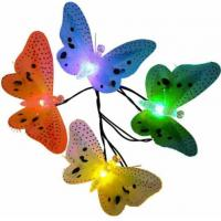Quality Multi Color Solar Powered String Garden Lights , 10 LED Fiber Optic Butterfly Night Light for sale