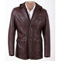 Two Side Pockets Luxury and Casual, Young Men Fashion Hooded PU Leather Coat for Charm Men Manufactures