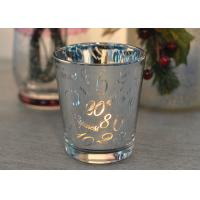 Mercury Glass Candle Holders Votive Set Wedding Decoration with Laser Numbers Manufactures