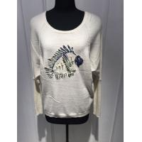 12gg White Pullover Sweater , Pull Over Sweater Womens With Fish Pattern Manufactures