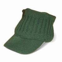 Men's Knitted Cap with Visor, Made of 100% Acrylic, Customized Designs are Welcome Manufactures