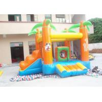 Kids / Adults Small Inflatable Bouncy Castle With Slide Orange Manufactures