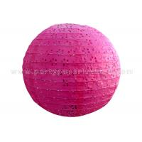 Round Pink Blue Eyelet Paper Lantern , multi colored paper lanterns for bedrooms Manufactures