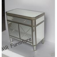 Quality Two Doors Modern Mirrored Nightstand, Gold Color Mirrored Glass Nightstand for sale