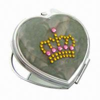 China Heart-shaped Promotional Compact Mirror with Rhinestone Crown and 3x Magnification on sale
