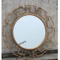 Durable Floral Mirror Wall Decor , Mirror Glass Wall Art Gold Leaves Finish Manufactures