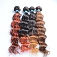 China Black ombre natural brown curly hair weaving 16 deep wave remy brazilian hair on sale