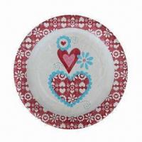 Disposable Paper Plate with Color Printing, Various Sizes are Available Manufactures