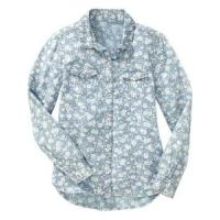 Children's shirt » Girls' Long Sleeve Floral Chambray Button-Front Cotton Shirts Manufactures