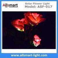 Quality 3LED Red Rose Flower Solar Lights Solar Powered Outdoor Waterproof Garden Lawn Balcony LED Lamps Landscape Decorative for sale