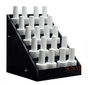 Acrylic 5 Tier Nail Polish Counter Display Black MDF OEM Logo Printing Manufactures