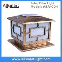Square Aluminum Solar Pillar Lights Bronze Lampshade Solar Brick Column Post Lamp Solar Welcome Lighting China Factory Manufactures