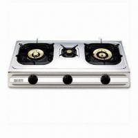 Triple Burner Gas Stove with 3.4/0.75/4.3kW Heat Input and Stainless Steel Construction Manufactures