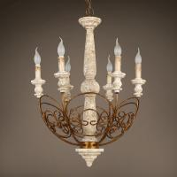 French country chandelier wood Candle Pendant lamp (WH-CI-64) Manufactures