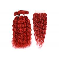 China Brazilian Red Water Wave Hair Extensions Bundles With Closure Curly Human Hair Bundles With Closure on sale