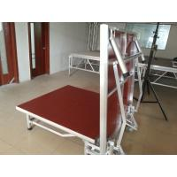 China Red Light Weight Aluminum Folding Stage With Wheels Strong Loading Capability on sale