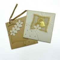 Quality 3D Flower Online greeting Laminated Card Printing Service with Golden Ribbon for Gift for sale